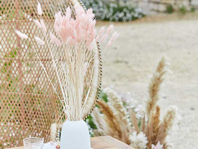 Pink pampas in white vases with rattan wicker background inspired by Stacey Solomon's pink nursery