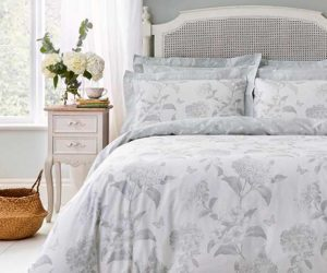Eucalyptus light green bedding in neutral bedroom from Holly Willoughby celebrity bedding collection