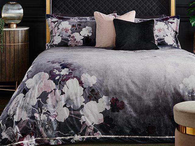 Purple and grey velvet duvet cover set from Next
